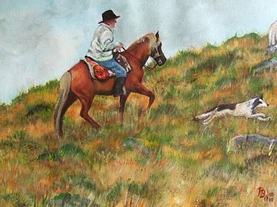 Herding Dog Digital Art - Welsh Sheep Farmer Mounted - Ppwl-001 by Pat Bullen-Whatling