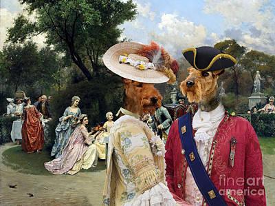 Painting - Welsh Terrier Art - Princess In The Gardens Of Versailles by Sandra Sij