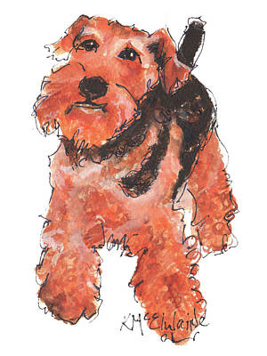 Welsh Terrier Or Schnauzer Watercolor Painting By Kmcelwaine Art Print