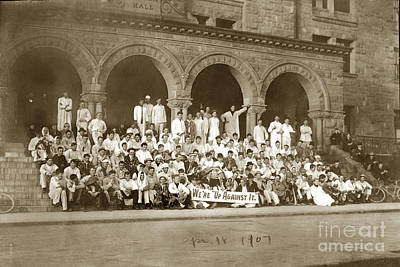 Photograph - We're Up Against It,students On Steeps Of Encina Hall At Stanford University April 18,1907 by California Views Mr Pat Hathaway Archives