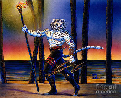 Werecat With Torch Print by Melissa A Benson