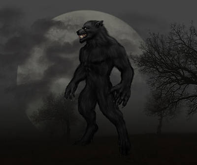 Digital Art - Werewolf At Full Moon by Solomon Barroa