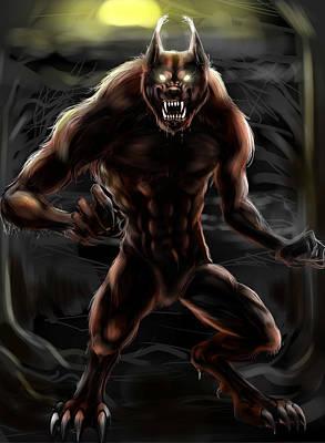 Moon Night Dark Dog Drawing - Werewolf by Natalie Gillham