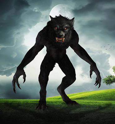Digital Art - Werewolf by Solomon Barroa