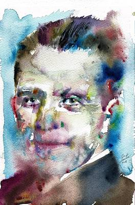 Painting - Werner Heisenberg - Watercolor Portrait by Fabrizio Cassetta