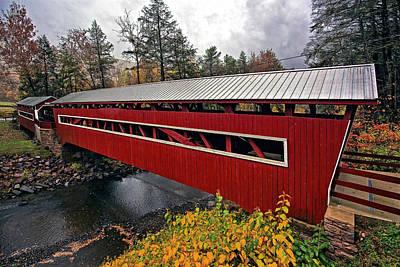 Autumn Photograph - West And East Paden Twin Bridges by Marcia Colelli