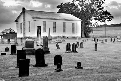 Church Photograph - West Beaver United Presbyterian Church And Cemetery Black And White by Lisa Wooten