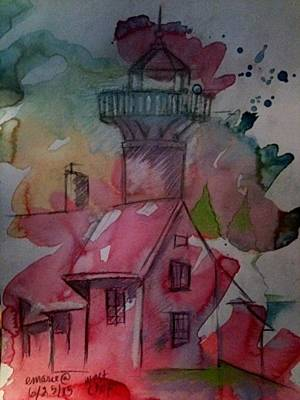 New England Lighthouse Mixed Media - West Chop Lighthouse by Elaine Marie