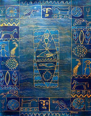 Petroglyph Painting - West Coast by Aliza Souleyeva-Alexander