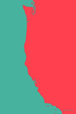 West Coast - Coral Red On Teal  Original