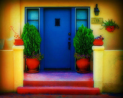 Stuco Photograph - West Coast Door by Perry Webster