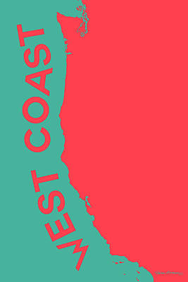 Digital Art - West Coast Pop Art - Coral Red On Teal  by Serge Averbukh