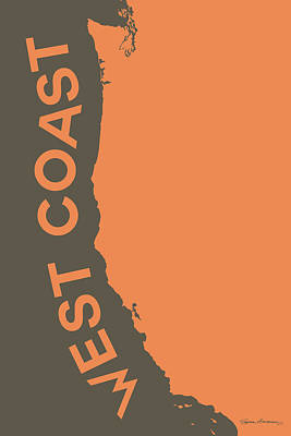 Digital Art - West Coast Pop Art - Crusta Orange On Judge Grey Brown by Serge Averbukh