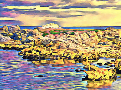 Digital Art - West Coast Seascape 3 Abstract by Barbara Snyder