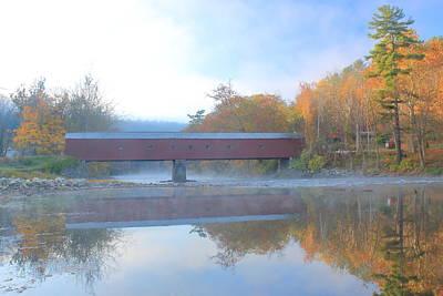 Photograph - West Cornwall Covered Bridge Autumn Fog by John Burk