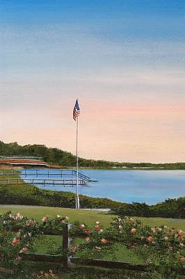 Flagpole Painting - West Falmouth Roses by Mimi Schlichter