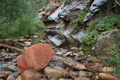West Fork Trail River And Rock Horizontal Art Print by Heather Kirk