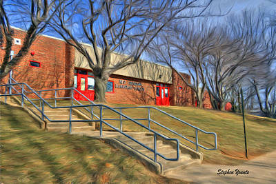 Brick Schools Digital Art - West Friendship Elementary School by Stephen Younts