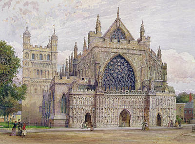 West Front, Exeter Cathedral Art Print by George Nattress