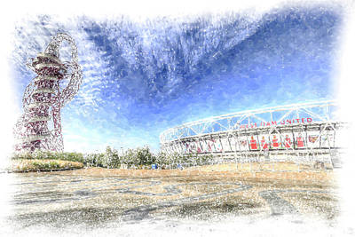 Photograph - West Ham Olympic Stadium And The Arcelormittal Orbit Snow by David Pyatt