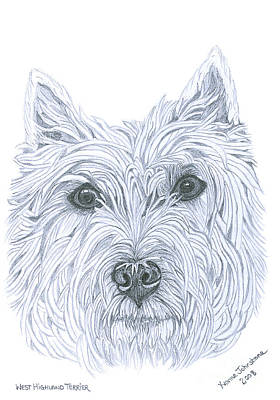 Scottish Dog Drawing - West Highland Terrier by Yvonne Johnstone