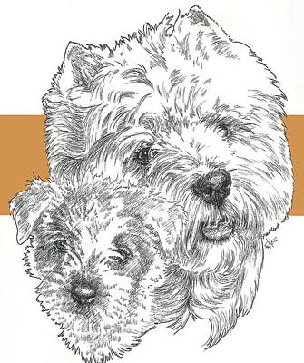 Mixed Media - West Highland White Terrier And Pup by Barbara Keith