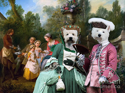 Painting - West Highland White Terrier Art - Ladies And Gentlemans With Two Girls And A Servant by Sandra Sij