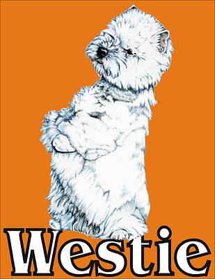 West Highland White Terrier Westie Urban Pop Orange Art Print