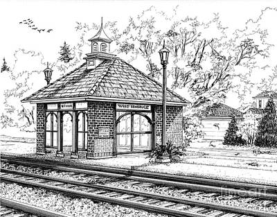 Architecture Drawing - West Hinsdale Train Station by Mary Palmer