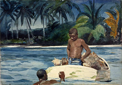 Winslow Homer Drawing - West India Divers by Winslow Homer