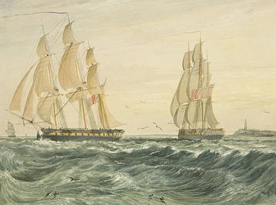 Sailboats Drawing - West Indiaman Ann Off Flat Holm by Thomas Leeson the Elder Rowbotham