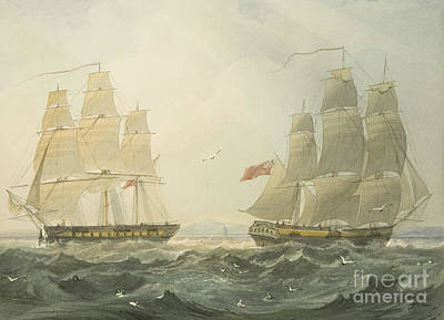 Sailboats Drawing - West Indiaman Union And Ann Coming Up The Bristol Channel by Thomas Leeson the Elder Rowbotham