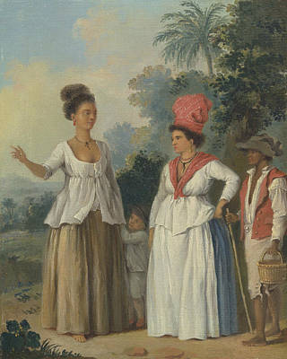 Indy Indians Painting - West Indian Women Of Color, With A Child And Black Servant by Agostino Brunias