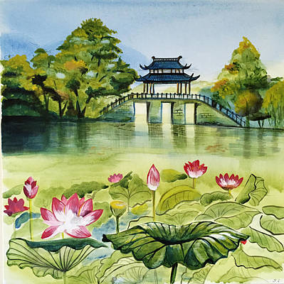 Waterlily Wall Art - Painting - West Lake In Summer by Shan Lou