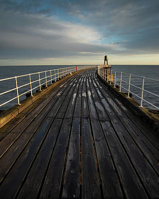 Photograph - West Pier, Whitby, England by David Stanley