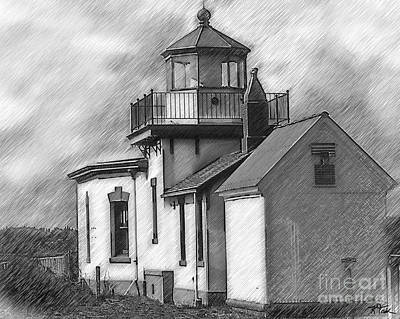 Digital Art - West Point Lighthouse Sketched by Kirt Tisdale