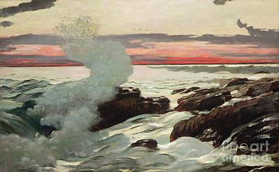 Sundown Photograph - West Point Prouts Neck by Winslow Homer