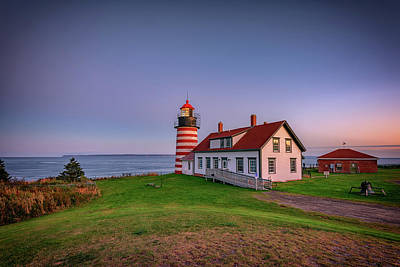 Quoddy Photograph - West Quoddy Head Light At Dusk by Rick Berk