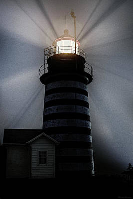 Photograph - West Quoddy Head Lighthouse Aglow In Silhouette by Marty Saccone