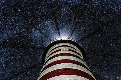 Quoddy Photograph - West Quoddy Head Lighthouse Night Light by Marty Saccone