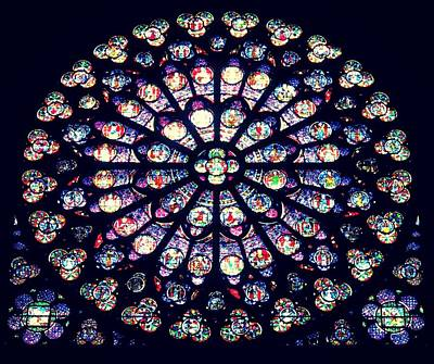 Photograph - West Rose Window Of Notre Dame by Betty Buller Whitehead