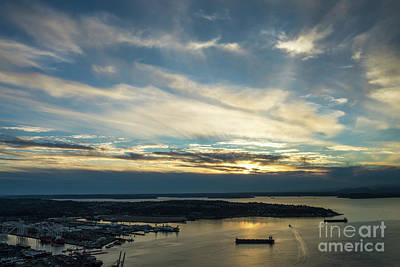 Photograph - West Seattle Water Taxi At Sunset by Mike Reid