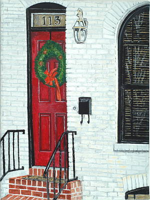 Painting - West Street Christmas by John Schuller