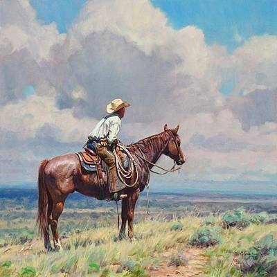 Cowboy Art Collector Painting - West Texas Cow Hunter  by Martin Grelle