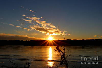 Sunset Photograph - West Thompson Lake Winter Sunset  by Neal Eslinger