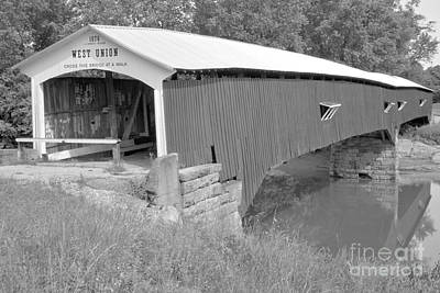 Photograph - West Union Over Sugar Creek Black And White by Adam Jewell