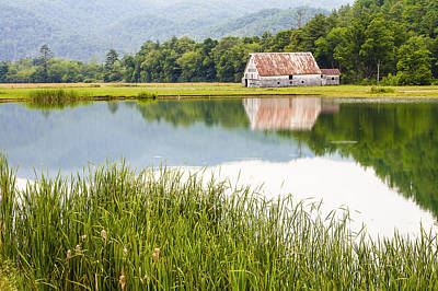 Country Scenes Photograph - West Virginia Barn Reflected In Pond   by Bill Swindaman