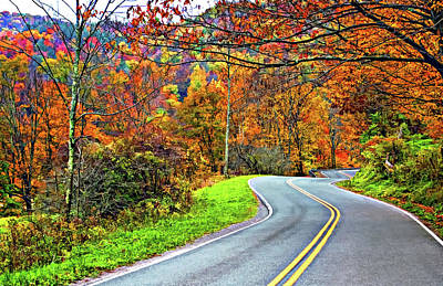Photograph - West Virginia Curves Painted 2 by Steve Harrington