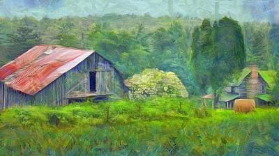 Haybale Digital Art - West Virginia Homestead by Judy Coggin