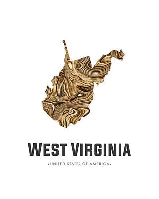 Mixed Media - West Virginia Map Art Abstract In Brown by Studio Grafiikka